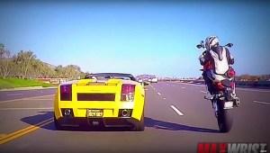 """BMW S1000RR fez """"picanço"""" com Lamborghini Gallardo Spyder! Quem achas que ganhou?"""