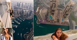 Modelo russa tenta foto perfeita no topo de prédio no Dubai a 600 metros de altura
