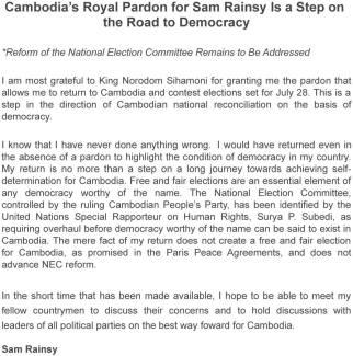 Sam Rainsy return message