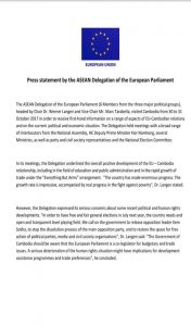 EU Statement on current crisis of political climate in Cambodia