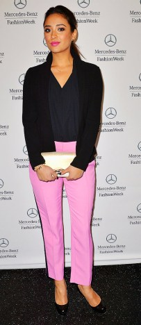 Shay-Mitchell-offset-bright-pair-tuxedo-pink-trousers