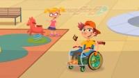 Petit garçon en fauteuil dans une cour de récré avec une copine et en arrière plan un tobboggan et une marelle