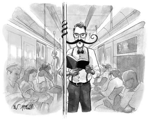 Homme qui se tient à la barre du métro par le biais de sa moustache