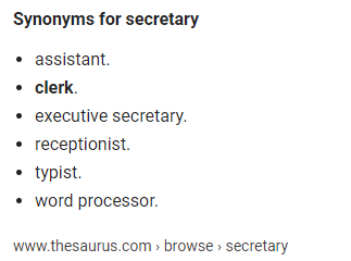 other words for secretary