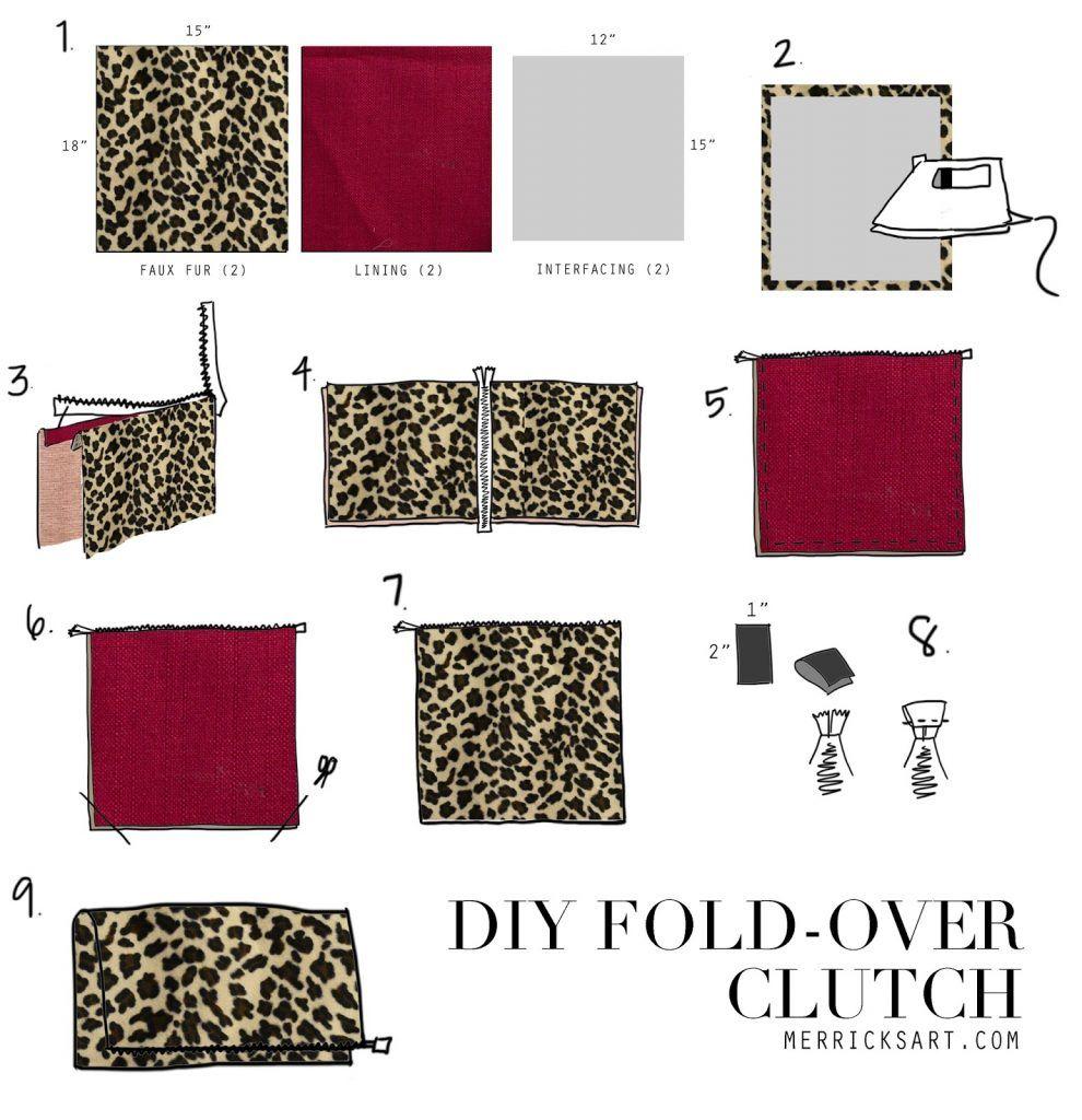 DIY clothes life hacks 15 DIY ideas #14 Diy Leopard Fold Over Clutch2