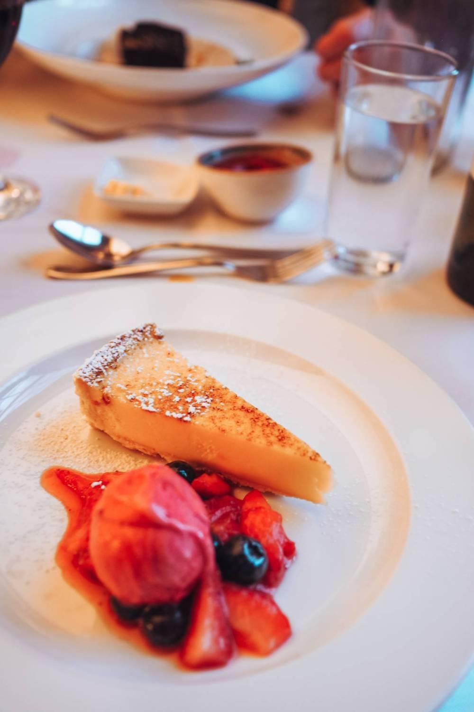 Lemon Tarte with raspberry sorbet