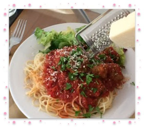 Meat balls grated cheese