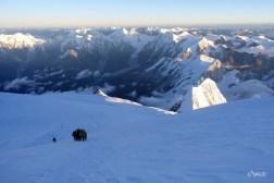 en direction du sommet