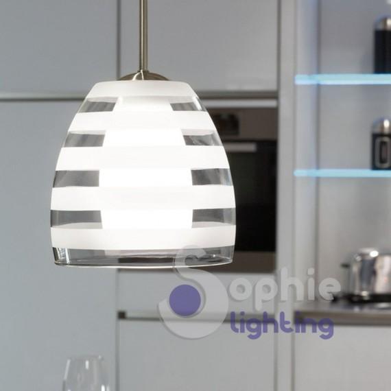 Lampadario sospensione design moderno doppio vetro trasparente sati