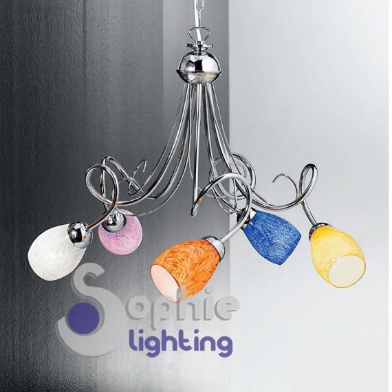 Lampadario moderno 5 luci bracci vetri colorati acciaio