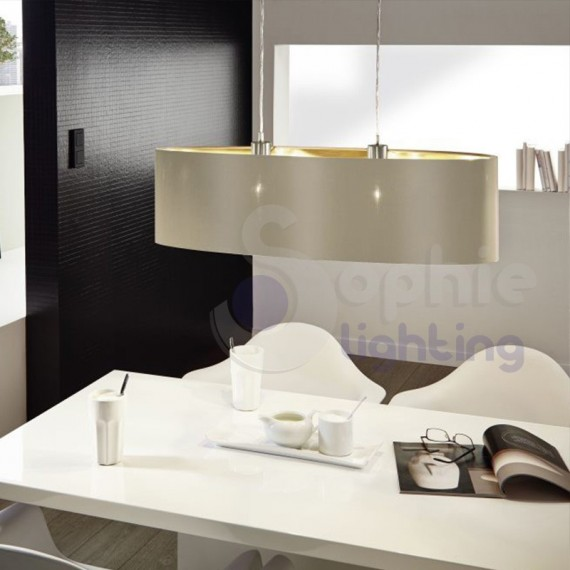 Lampadario moderno a grappolo composta da diverse sfere in metallo cromato lucido. Lampada Sospensione Regolabile Ovale Lunga 78 Cm Moderno Paralume T