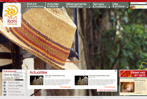 Office de Tourisme Riom-Limagne: création graphique du site