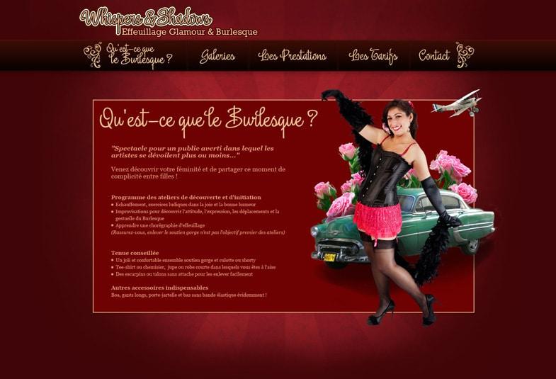 Whispers ans Shadows: page présentation du burlesque