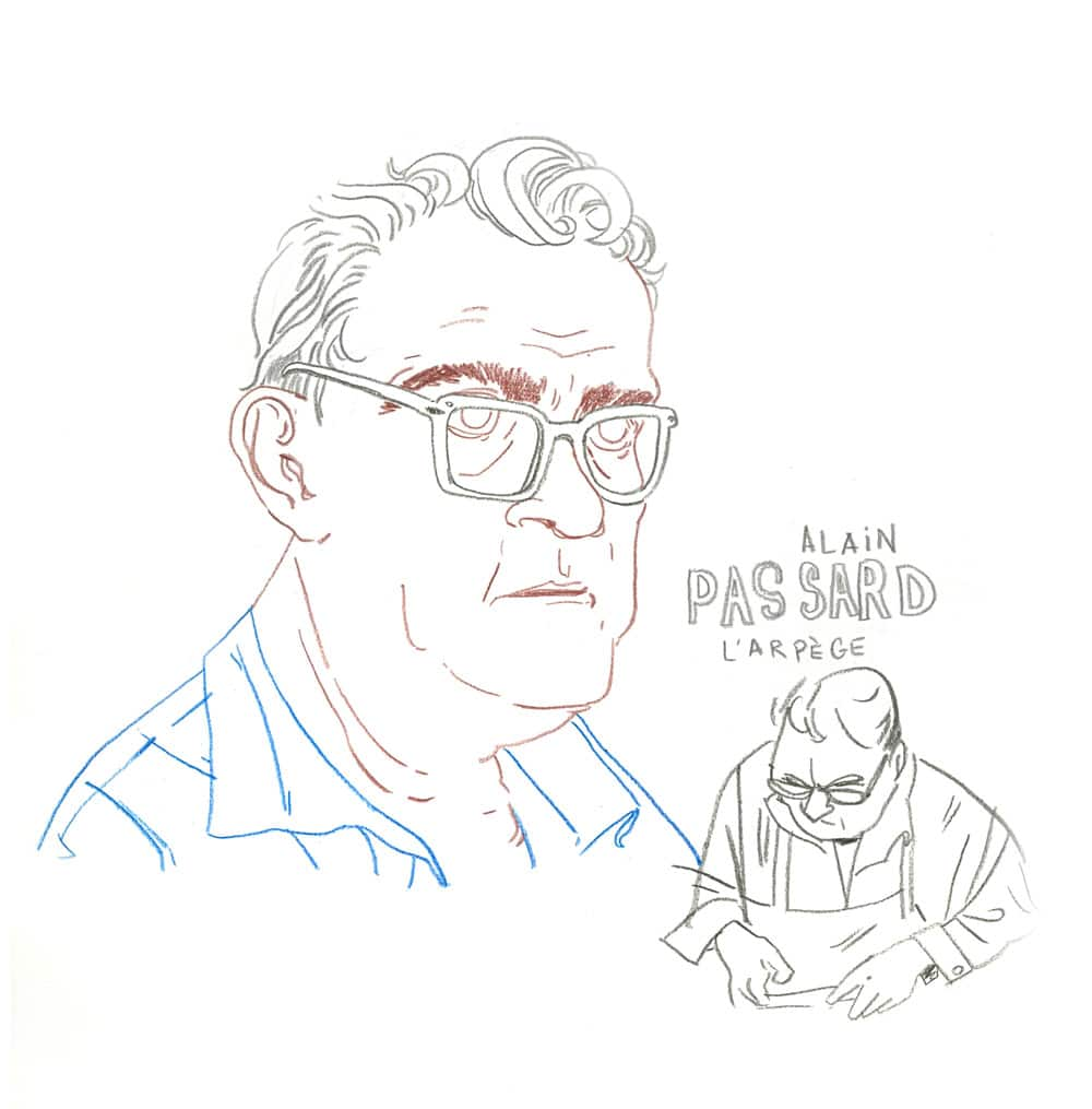 portrait au crayon du chef du restaurant l'Arpège