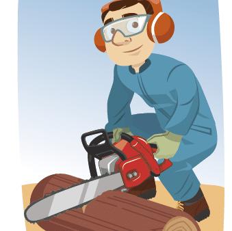 Illustration position de sécurité pour la coupe du bois