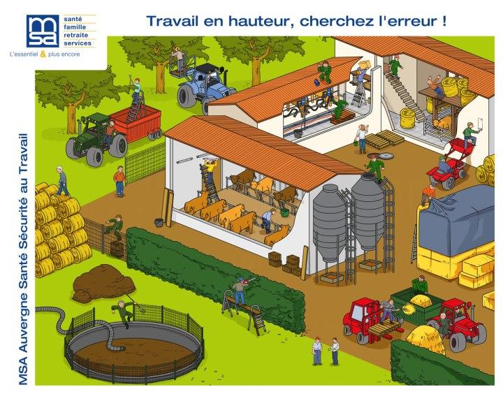Illustration sur les risques du travail en hauteur réalisée pour la MSA agricole Auvergne