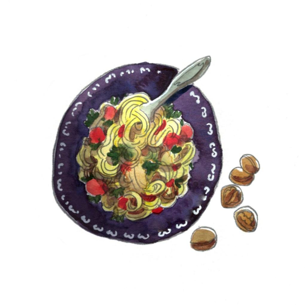 ELLE à table illustration liguine potiron et marrons