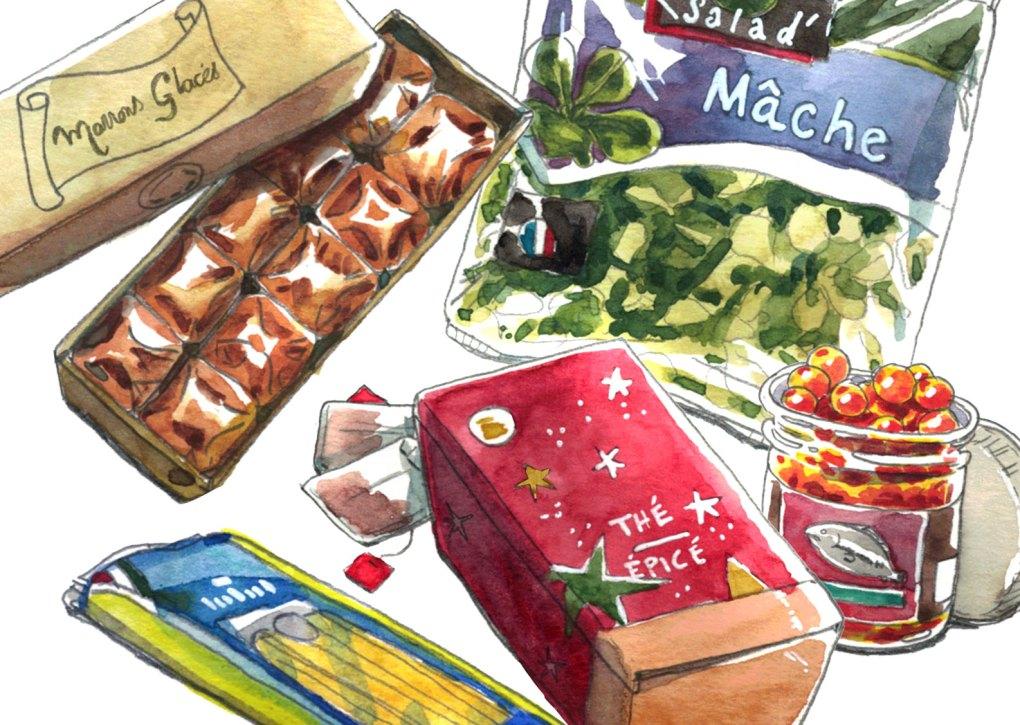 elle à table illustration aquarelle de la rubrique la cuisine du placard