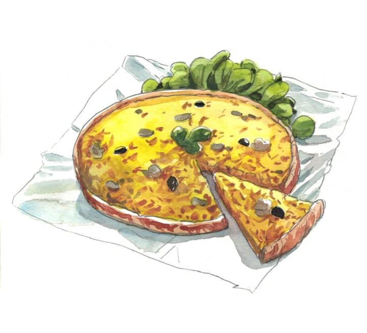 elle à table illustration tarte oignons et champignons