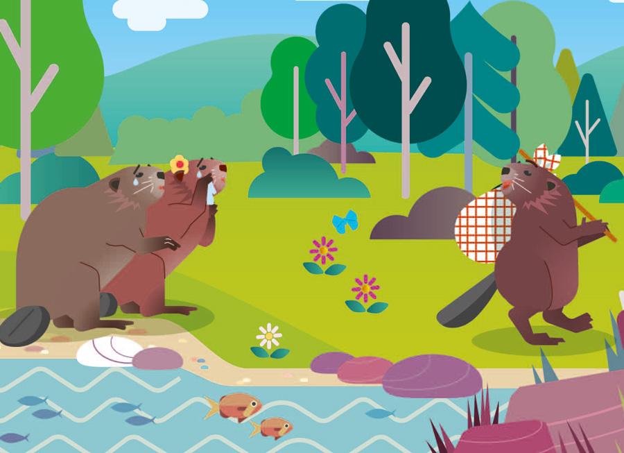 illustration parc du pilat avec une famille de castors disant au revoir à son enfant qui part avec un baluchon