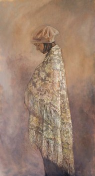 """The Shawl, oil on linen, 122x61cm/24x48"""", Available"""