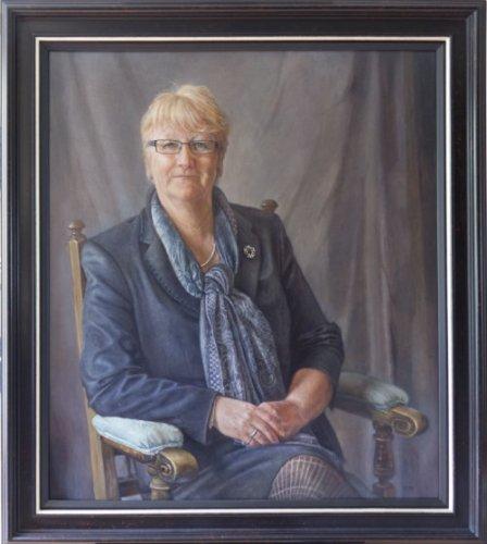Sophie Ploeg, Mrs Margie Burnet Ward, headmistress of Wycliffe College, oil on linen, 86x76cm. Commissioned.