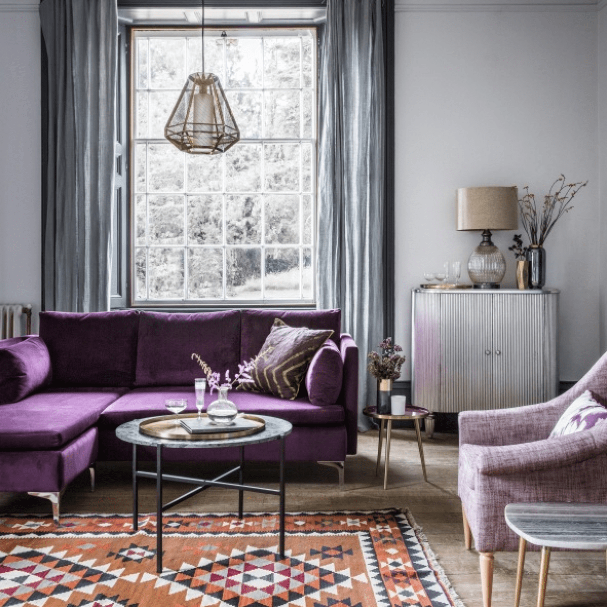 Living Room Gray And Purple Living Room