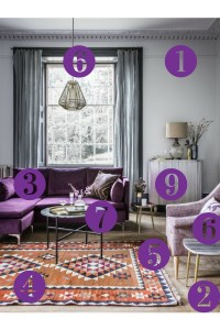 Room Reveal: Purple and grey living room  Sophie Robinson