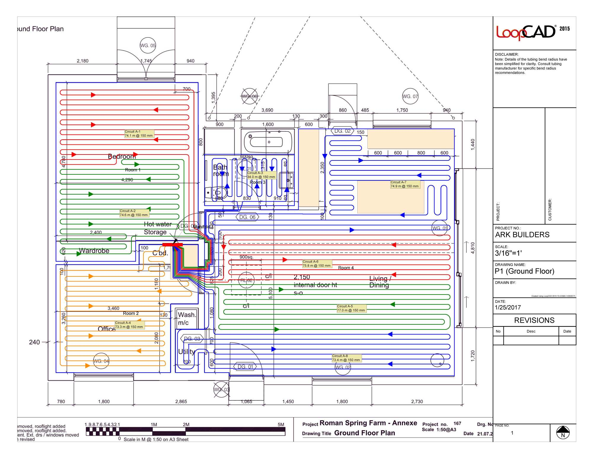 hight resolution of plan supplied by under floor heating store showing the plumber how to lay out the system throughout the property you can see the kitchen and bath areas are