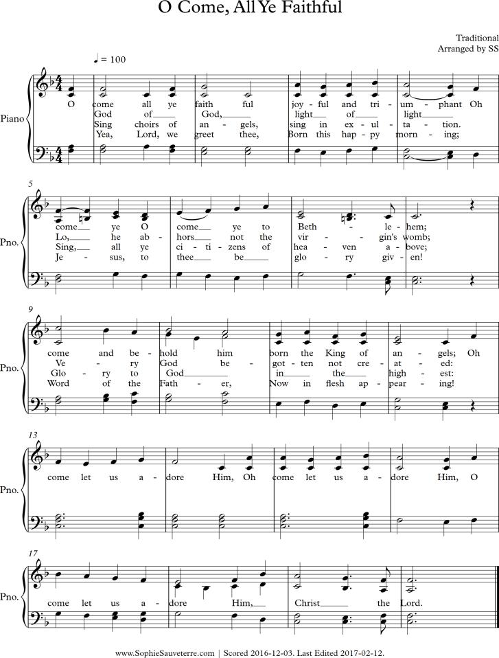 O Come, All Ye Faithful - Piano with Lyrics - Sheet Music