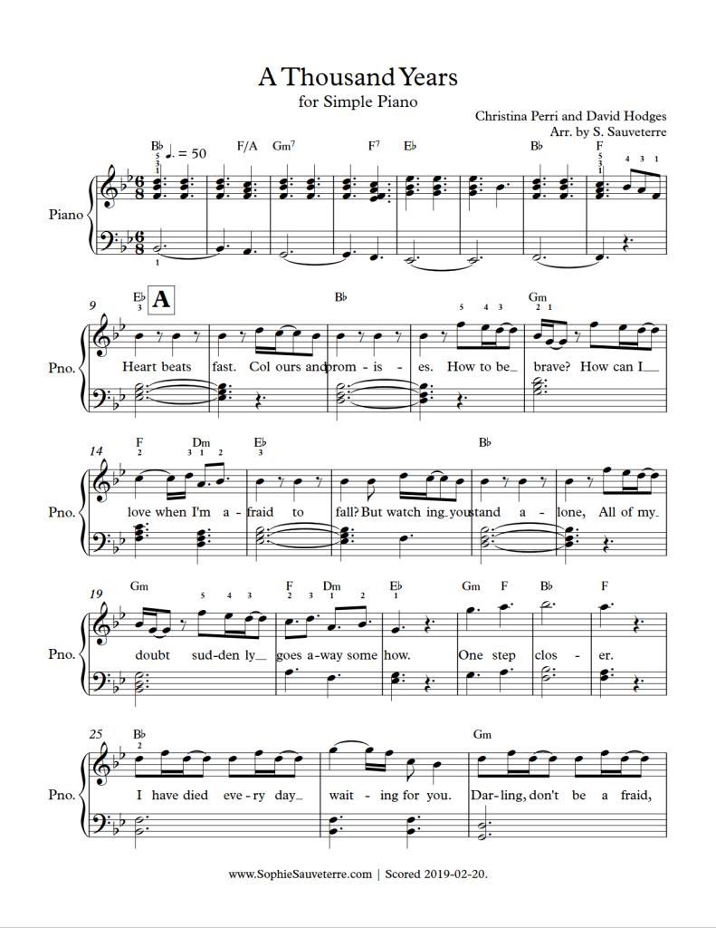 Christina Perri A Thousand Years Simple Piano Sheet Music Arrangement Sophie Sauveterre
