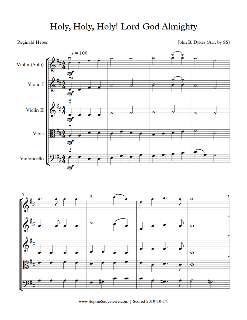 holy, holy, holy! lord god almighty! – traditional -string quartet/ensemble sheet  music arrangement – sophie sauveterre  sophie sauveterre