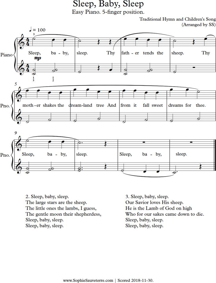 Sheet Music for Sleep, Baby, Sleep for Easy Piano