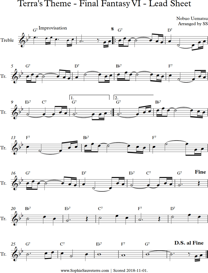 Terra's Theme FFVI Lead Sheet