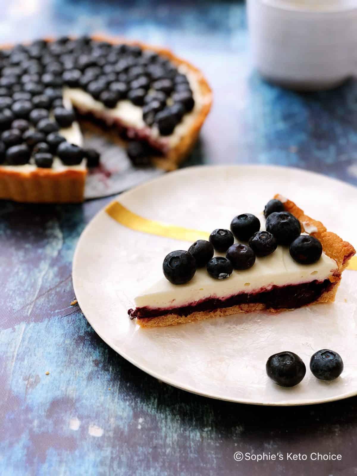 [生酮甜點] 藍莓優格乳酪塔 Blueberry Yogurt Cheese Tart- 免烤內餡,簡易生酮塔皮