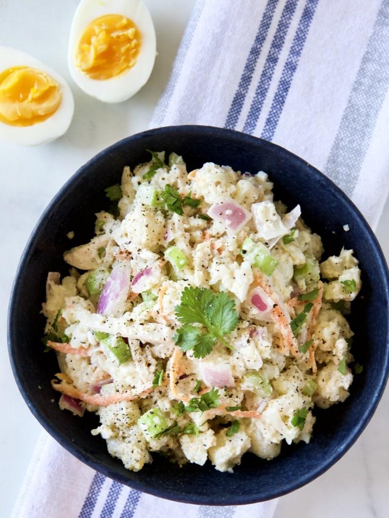 偽馬鈴薯蛋沙拉 -一只電鍋搞定無廚房料理-低醣生酮無麩質-健康高纖低卡