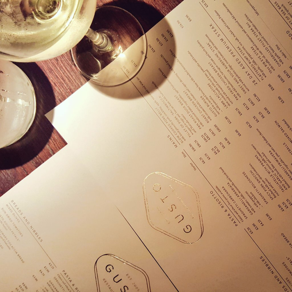 the new menu at Gusto has a few winter warmers to get us through the colder months