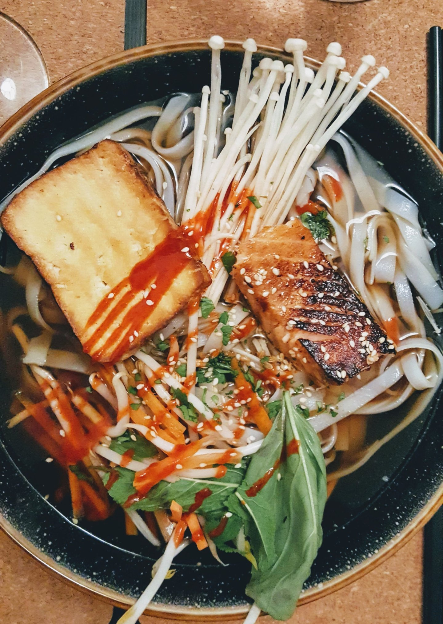 Tofu in a Vietnamese pho with salmon