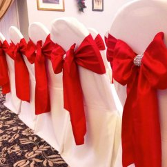 Dark Red Chair Sashes Sofa With Swivel Cover Hire Sash Bows Wedding Table Swagging Venue Romantic Satin Over White Cotton Covers