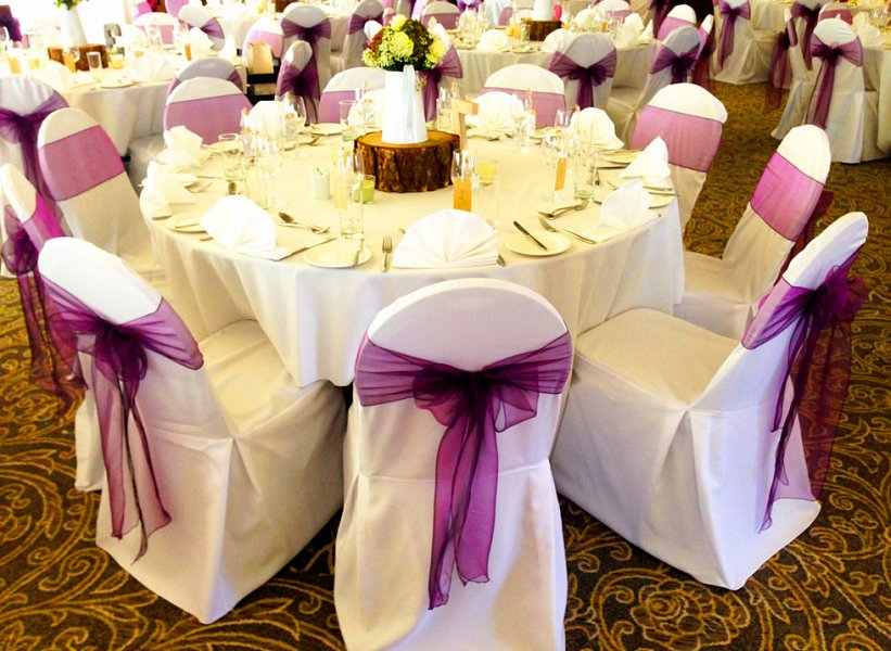 chair covers with pink bows fishing stalking cover hire | sash wedding table swagging & venue styling sophisticated events