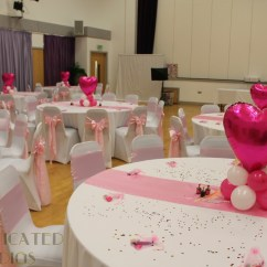 Chair Covers Wedding Hull Office Ireland Freedom Centre Sophisticated Shindigs We Used White And Baby Pink Satin To Give This Sports Hall Reception A Real Feel Finished The Look With Balloon Heart Centrepieces