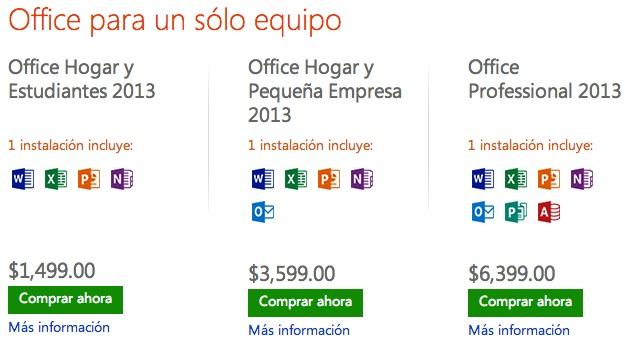 Office 2013 precios