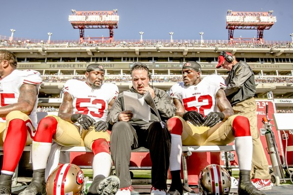 NASHVILLE, TN - OCTOBER 20: Defensive Line Coach Jim Tomsula of the San Francisco 49ers talks with NaVorro Bowman #53 and Patrick Willis #52 during the game against the Tennessee Titans at LP Field on October 20, 2013 in Nashville, Tennessee. The 49ers defeated the Titans 31-17. (Photo by Michael Zagaris/San Francisco 49ers/Getty Images) *** Local Caption *** Jim Tomsula;Patrick Willis;NaVorro Bowman