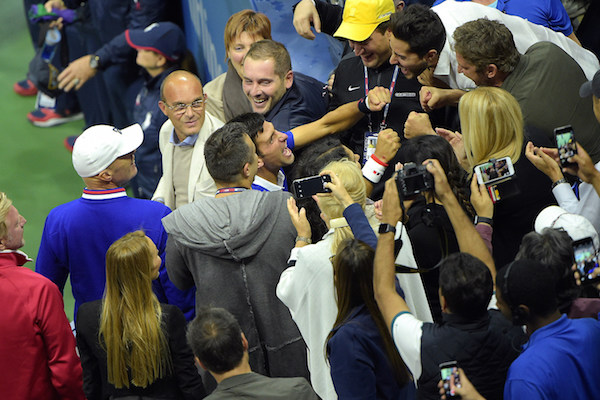 September 13, 2015 - Novak Djokovic celebrates after defeating Roger Federer (not pictured) in the men's singles final match during the 2015 US Open at the USTA Billie Jean King National Tennis Center in Flushing, NY. (USTA/Pete Staples)
