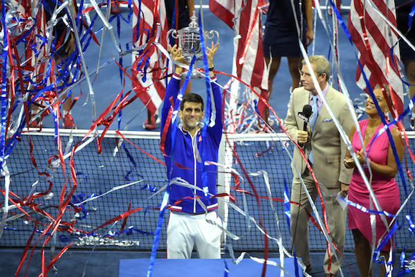 September 13, 2015 - Novak Djokovic poses with the trophy after defeating Roger Federer (not pictured) in the men's singles final match during the 2015 US Open at the USTA Billie Jean King National Tennis Center in Flushing, NY. (USTA/Pete Staples)