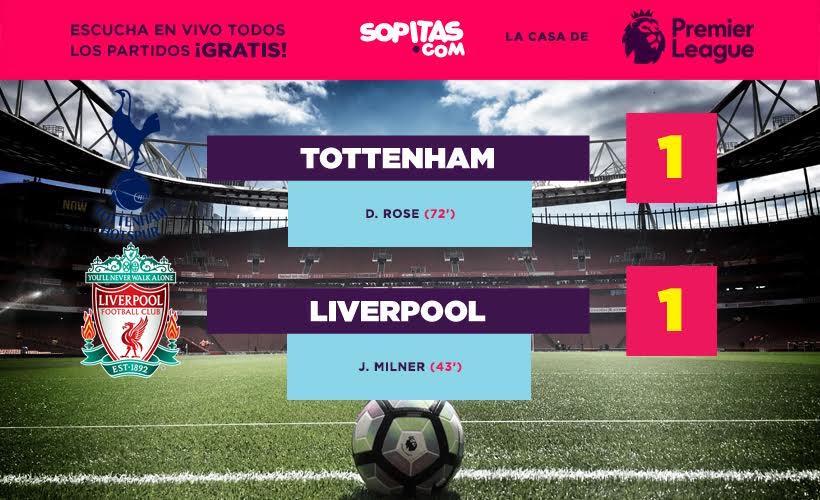 Marcador entre el Tottenham y el Liverpool por la fecha tres de la Premier League