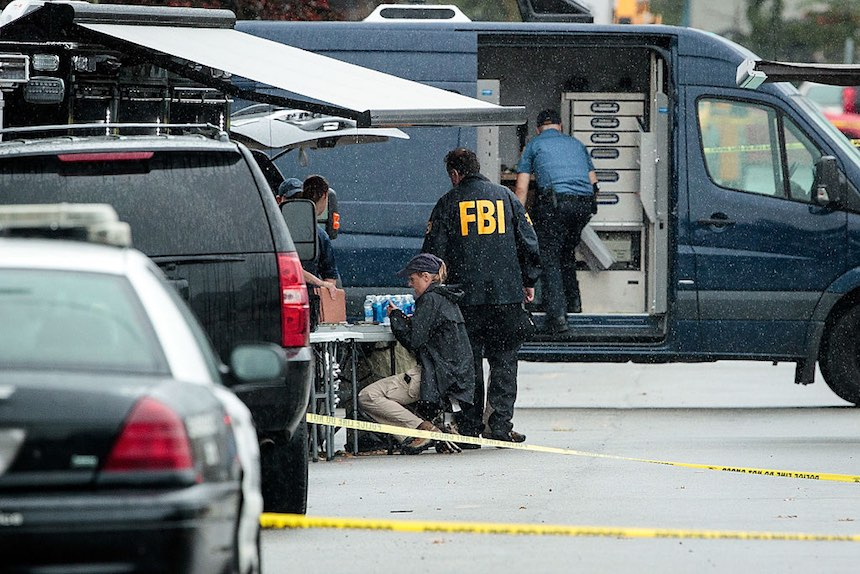 LINDEN, NJ - SEPTEMBER 19: Members of the Federal Bureau of Investigation (FBI) work at the site where Ahmad Khan Rahami, who was wanted in connection to Saturday night's bombing in Manhattan, was arrested after a shootout with police, September 19, 2016 in Linden, New Jersey. On Monday morning, law enforcement released a photograph of 28-year-old Ahmad Khan Rahami, who they are seeking in connection to the attack. (Photo by Drew Angerer/Getty Images)
