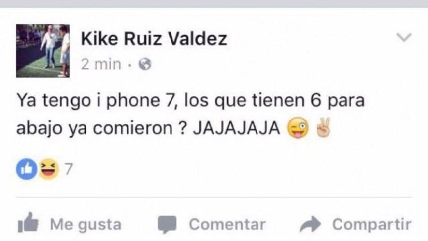 Publicación de funcionario que se burló de quienes no tienen iPhone