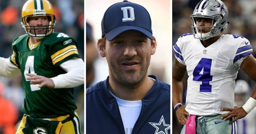 Brett Favre, Tony Romo y Dak Prescott