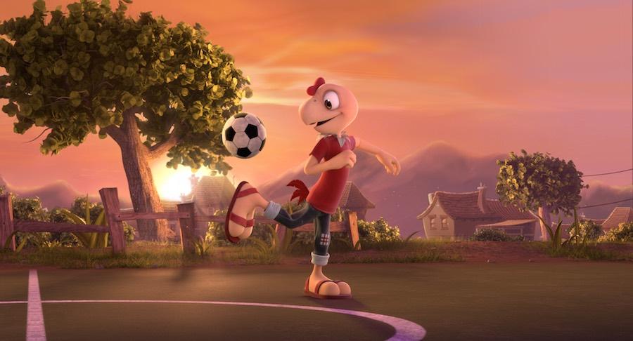 Condorito jugando futbol